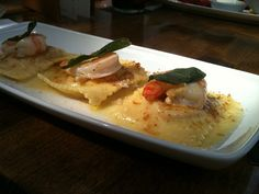 My favorite lunch at Rob Feenie's Cactus Club - Butternut squash ravioli with sage butter and prawns