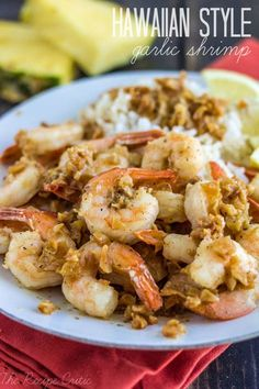 Hawaiian Garlic Shrimp at http://therecipecritic.com  You don't have to go to a shrimp shack in Hawaii to get this amazing garlic shrimp!  Tastes just like Hawaii and you can make it at home!