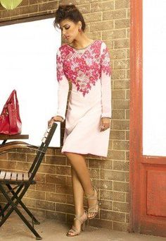 Embroidered Georgette Tunic In Baby Pink #goldratetoday