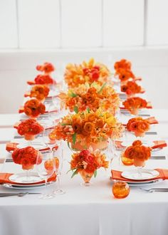 You can say that orange is a fall color but that's not true completely: it's not only an autumn one but also a bright summer one – a citrus color! Orange is a color of joy and fun, it's so warm and beautiful. Orange Centerpieces, Modern Wedding Centerpieces, Orange Party, Orange Power, Deco Orange, Orange Orange, Burnt Orange, Place Settings, Table Settings