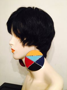 Hand painted wood earrings handmade jewelry accessory by LaJoytraCreations on Etsy