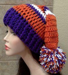 Crochet Clemson Tigers Santa hat