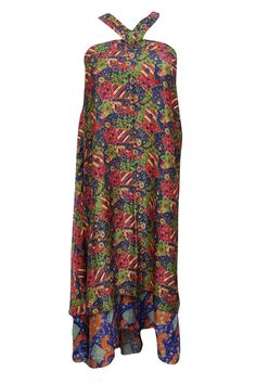 Womens Reversible Magic Beach Wrap Skirt Vintage Printed Cover Up Long Skirts