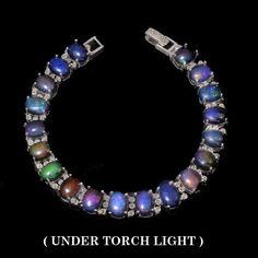 925 Sterlingsilber Natural Mezezo Schwartz Feueropal Armband Bracelet