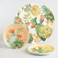 Keeping up with the cactus craze, our round melamine serving platter is adorned with a menagerie of the colorful succulents. Cactus House Plants, Cactus Decor, Round Cactus, Cactus Pics, Cactus Cactus, Cacti, Dinner Plate Sets, Dinner Plates, Cactus Ceramic