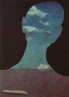 Man with His Head Full of Clouds - Dali Salvador L'art Salvador Dali, Salvador Dali Paintings, Figueras, Les Religions, Rene Magritte, Spanish Artists, Art Database, Art Moderne, Art For Art Sake