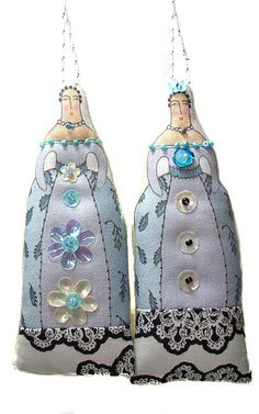 2 small textile art cloth art doll ladies by theresahutnick, $14.00