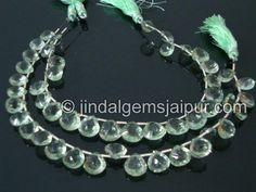 Green Amethyst Double Concave Cut Heart Gemstone Beads.