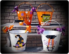 Personalized Halloween Bucket - Lots of Designs Available by UPersonalized on Etsy
