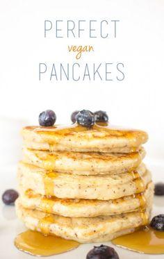 The Perfect Vegan Pancakes - sub gluten free flour to make vegan and gluten free.