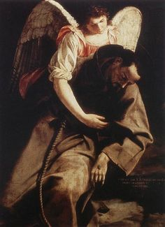 File:Orazio Gentileschi - St Francis and the Angel - - Wikimedia Commons Francis Of Assisi, St Francis, Caravaggio, Religious Images, Religious Art, Orazio Gentileschi, Artemisia Gentileschi, Clare Of Assisi, St Clare's