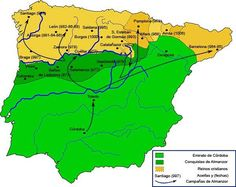 """Map showing the major territorial situation around the year 1000 AD. Almanzor (Al-Mansur) campaigns and """"razzias"""" to Christian territory. Green: Caliphate of Cordoba. Dark green: conquests of Almanzor. Map Of Spain, Spain And Portugal, Historical Maps, Historical Pictures, Religious Tolerance, Rome Antique, Empire Romain, Iberian Peninsula, Teaching History"""