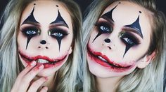 Creepy Glamorous Clown Halloween Makeup - YouTube