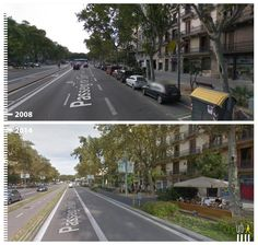 Passeig de Sant Joan, Barcelona, Spain see more: http://www.urb-i.com/#!before-after/ceh8 Transformation of the public space from car-oriented to a more pedestrian friendly environment. google street view