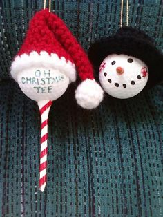 Golf Ball Christmas Ornaments Set of 4 by SleepyHollowCrochet