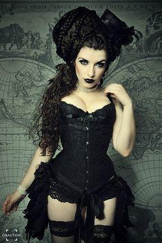 Elegance in Darkness — model-la-esmeralda: Corset: Fräulein Marlene Gothic Steampunk, Victorian Gothic, Steampunk Fashion, Gothic Lolita, Steampunk Lingerie, Gothic Corset, Steampunk Clothing, Gothic Dress, Gothic Art