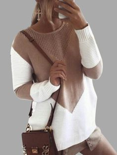 Khaki Knitting Patchwork Sweaters with Hollow Out Design