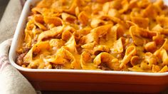 Chili-cheese Burger Bake Casserole - corn chips turn a simple hot dish into a dinnertime favorite.