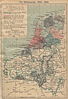 History map of the Netherlands illustrating the Pacification of Ghent, the Union of Utrecht, and the Twelve Years Truce, The United Netherlands and the Spanish Netherlands. Vintage Maps, Antique Maps, Vintage Ephemera, Holland Map, Spanish Netherlands, Netherlands Map, Dutch Republic, Map Globe, Old Maps