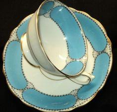 STAR Paragon Pastel BLUE ART DECO Tea cup and saucer