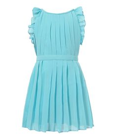 http://www.zulily.com/invite/vhanson979 This Blue Pleated Angel-Sleeve Dress - Toddler & Girls is perfect! #zulilyfinds