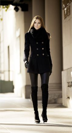 Black Leggings, Black Peacoat, Black Gloves and Black Over-the-Knee Boots