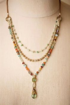Gentle Breeze- Unique handcrafted multi strand gemstone necklaces for women are hand made in America in our Floyd VA studio #JewelryIdeas