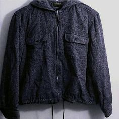 Liz Claiborne Jacket Charcoal gray ? with hood and adjustable waist (draw strings) ? Sleeves have buttons like a dress shirt for a more fitted wear ? Petite Small but it fits a medium. Liz Claiborne Jackets & Coats