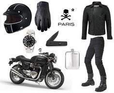 Parisian rider kit by vintage racer.-Parisian rider kit by vintage racer. Parisian rider kit by vintage racer. Cafe Racer Style, Bike Style, Motorcycle Style, Motorcycle Outfit, Motorcycle Gloves, Cafe Racer Clothing, Motorcycle Equipment, Motorbike Accessories, Triumph Cafe Racer
