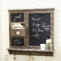 Large Chalk Board Organizer With Heart Cutout Kitchen Notice