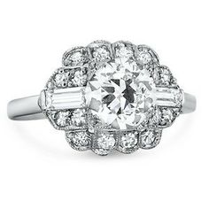 Engagement Ring 1.45ct H-VS2 Art Deco Halo EGL certified 18kt White Gold Blueriver47 on Etsy Fine Jewelry