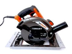 "EZSMART EZ READY 7-14"" Circular Saw. Magnesium components create a lightweight saw that's well-balanced and job site tough. Make quick, one-handed adjustments using large, rubberized levers. Large cutting capacity (2-3/8"" at 90°) and bevel capacity (0°-56°) with positive stop at 45°. Built-in L.E.D. lights illuminate the line of cut for increased accuracy. Electric brake for maximum productivity,Built-in dust blower clears the line of cut."