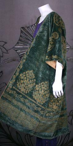 Mariano Fortuny: Green Stencilled Velvet Long Coat