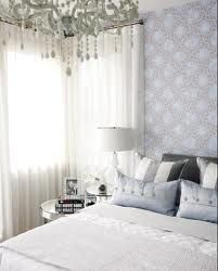Sarah Richardson Design: Pretty blue gray bedroom design with white chandelier, white, drapes, mirrored round . Grey Bedroom Design, Blue Gray Bedroom, White Bedroom, Sarah Richardson Bedroom, Decoration Inspiration, Beautiful Bedrooms, Beautiful Wall, Dream Bedroom, Dream Rooms