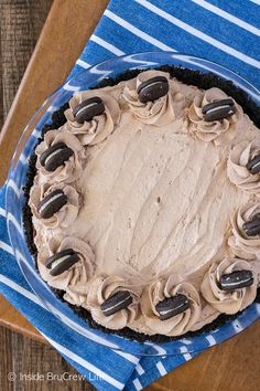 No Bake Chocolate Cream Pie - three layers of creamy chocolate in a cookie crust. Perfect no bake recipe for summer!