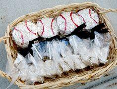 Baseball rice crispy treats, cute, for all my friends who have boys in baseball! cute snack idea