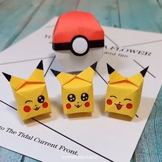 This cute and tiny Pikachu cube in origami is for all the pokemon fans out there! It's really easy to make and all you guys will like it! for guys Origami Pikachu Balloon Easy for Kids Diy Crafts Hacks, Diy Crafts For Gifts, Diy Arts And Crafts, Creative Crafts, Fun Crafts, Handmade Crafts, Instruções Origami, Origami Simple, Origami Design