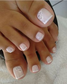 Gel Pedicure Toes Toenails Design 35 Ideas For 2019 Nail Color Gel Toe Nails, Feet Nails, Toe Nail Art, My Nails, Hair And Nails, Flower Toe Nails, Acrylic Toe Nails, Gel Toes, Wedding Toe Nails
