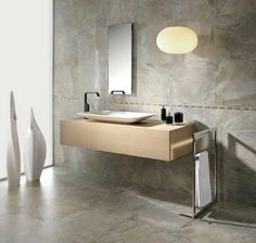 Bathroom,Classic Bathroom Design Ideas With Cool Floating Bathroom Vanity In Beige Color And Modern White Ceramic Vessel Sink Plus Wonderful Vertical Wall Mirror Also Beautiful White Images Interior Bathroom Inspiration Floating Bathroom Vanities, Bathroom Sink Design, Art Deco Bathroom, Modern Bathroom Design, Bathroom Interior Design, Small Bathroom, Bathroom Wall, Modern Bathrooms, Interior Modern