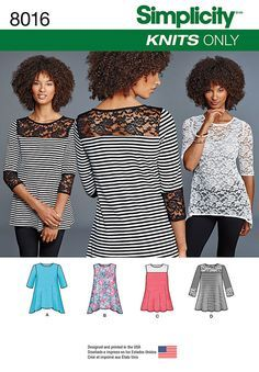 Pattern for Misses' Knit Tops with Lace Variations   Simplicity