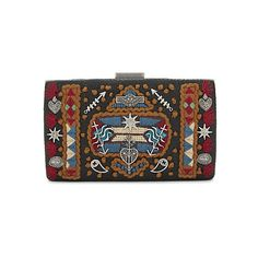 Valentino Embroidered leather clutch (€2.760) ❤ liked on Polyvore featuring bags, handbags and clutches