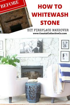 How To Whitewash Stone: DIY Fireplace Makeover — Coastal Collective Co. How To Whitewash Stone: DIY Fireplace Makeover — Coastal Collective Co. Whitewash Stone Fireplace, White Wash Fireplace, Stone Fireplace Makeover, Fireplace Update, Paint Fireplace, Home Fireplace, Fireplace Remodel, Fireplace Ideas, Fireplace Makeovers