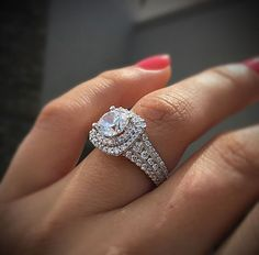 A beautiful double halo diamond engagement ring from Gabriel & Co. in white gold.