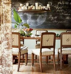 How cool is the blackboard wall in this dining room. Love the embrodered numbered fabric on the chairs