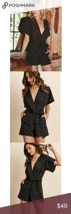161eed15c29 Checker Print Romper Black checkered print romper with plunging V-neck