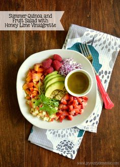 Joyously Domestic: Summer Quinoa and Fruit Salad with Honey Lime Vina...