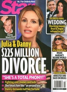Julia Roberts is totally getting a divorce. If you believe this new tabloid story for some reason. Brad And Angie, Eric Roberts, Star Magazine, Amanda Bynes, Digital Magazine, Mariah Carey, Divorce, Celebrity News, Breakup