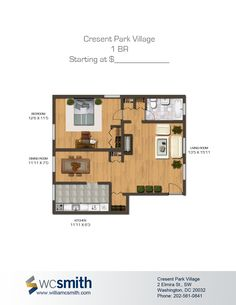 One Bedroom Floor Plan | Crescent Park Village in Southeast Washington DC | WC Smith #Apartments | Anacostia #Rentals
