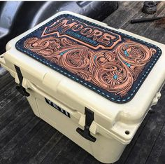 yeti tooled leather yeti coolerYou can find Leather tooling and more on our website. Leather Carving, Leather Art, Custom Leather, Leather Tooling, Leather Jewelry, Tooled Leather, Handmade Leather, Leather Working Patterns, Yeti Cooler