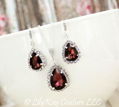 Marsala Earrings Burgundy Bridesmaid Jewelry by LilykayCouture